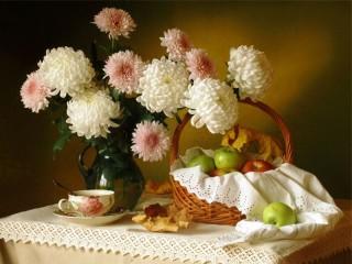 Собирать пазл Chrysanthemums and apples онлайн