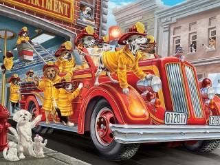 Собирать пазл Fire brigade онлайн