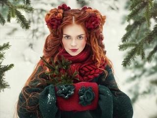 Собирать пазл Redhead girl онлайн