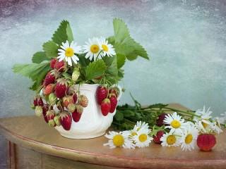 Собирать пазл Chamomile and strawberries онлайн
