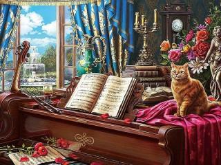 Собирать пазл Piano at the window онлайн