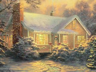 Собирать пазл Christmas Kinkade онлайн
