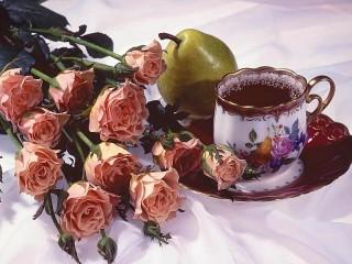 Собирать пазл Roses and tea онлайн