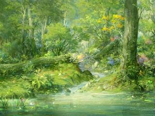 Собирать пазл Stream in the forest онлайн