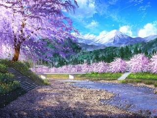 Собирать пазл Sakura by the river онлайн
