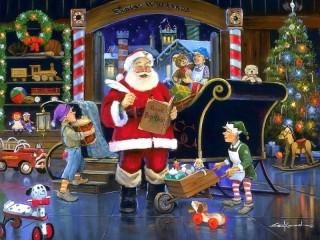 Собирать пазл Santa Claus at work онлайн