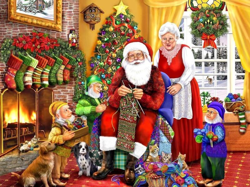 Jigsaw Puzzle Solve jigsaw puzzles online - Knitting Santa