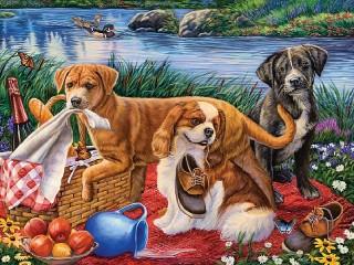 Собирать пазл Puppies at the picnic онлайн
