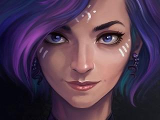 Собирать пазл Blue-eyed portrait онлайн