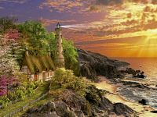 Собирать пазл Lighthouse at coast онлайн