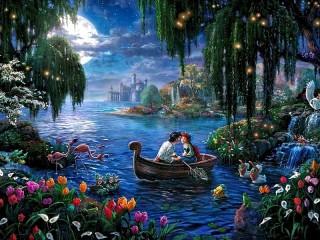 Собирать пазл Date in the boat онлайн