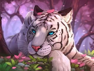 Собирать пазл Tiger in a pink forest онлайн