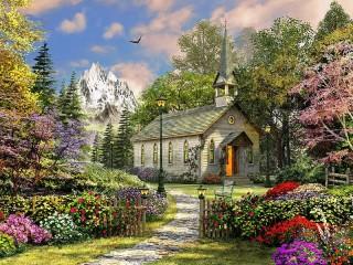 Собирать пазл church in mountains онлайн
