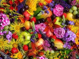 Собирать пазл Flowers and fruits онлайн