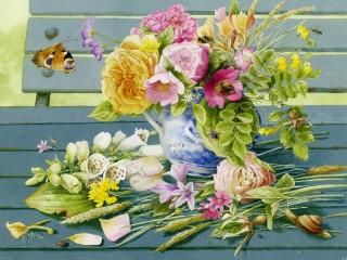 Собирать пазл flowers on the bench онлайн