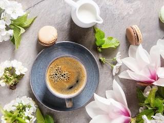 Собирать пазл Floral coffee онлайн