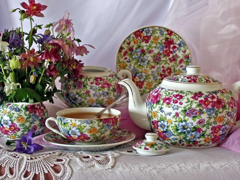 Jigsaw Puzzle Flower tea-set