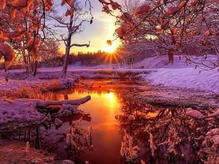 Собирать пазл The setting sun онлайн