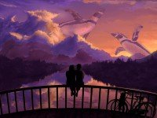 Собирать пазл Couple on bridge онлайн