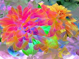 Собирать пазл Stained-glass flowers онлайн