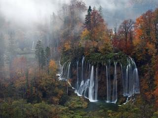 Собирать пазл Waterfall in the forest онлайн