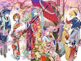 Собирать пазл The vocaloids in a kimono онлайн