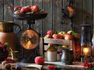 Собирать пазл Apples on the scales онлайн