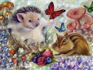 Собирать пазл Hedgehog and chipmunk онлайн