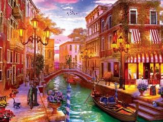 Собирать пазл The sunset over Venice онлайн
