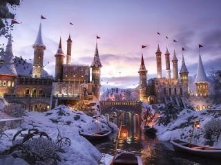 Собирать пазл Snowy castle онлайн