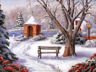 Собирать пазл Winter - tree - bench онлайн
