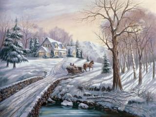 Собирать пазл Winter road онлайн