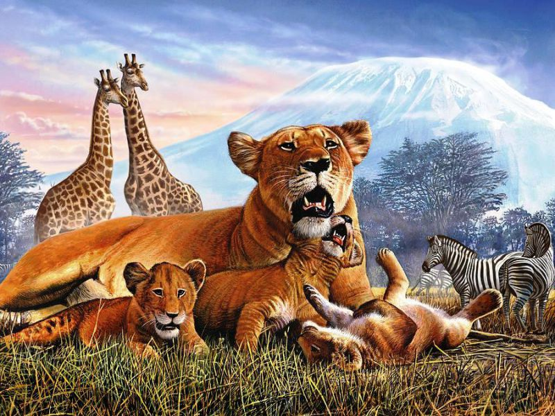 Jigsaw Puzzle Solve jigsaw puzzles online - Animals and Kilimanjaro